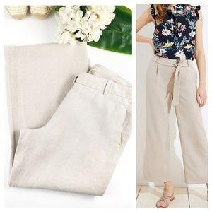 Loft Linen Wide Leg Crop Pants Tan 12
